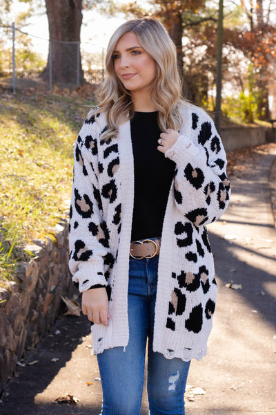 It Takes Two Leopard Cardigan-Ivory