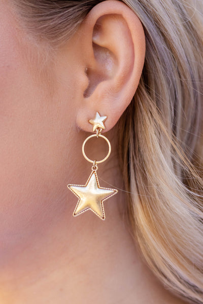 Gold Star Earrings- Trendy Women's Jewelry- $12