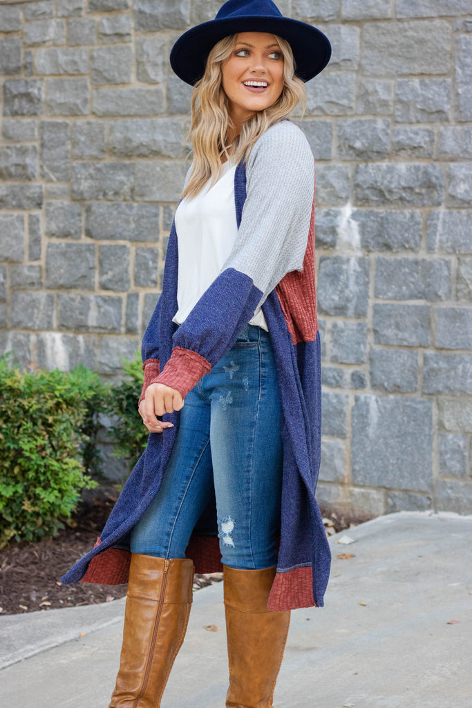 Women's Duster Boho Cardigan- Long Color Block Cardigan- $45