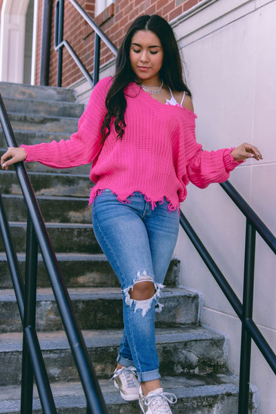 Trendy Hot Pink Distressed Sweater- Distressed Off The Shoulder Sweater- $40
