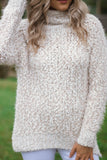 Ivory and Tan Mohair Popcorn Sweater- Super Soft Women's Mock Turtle Neck Sweater- $48- Juliana's Boutique