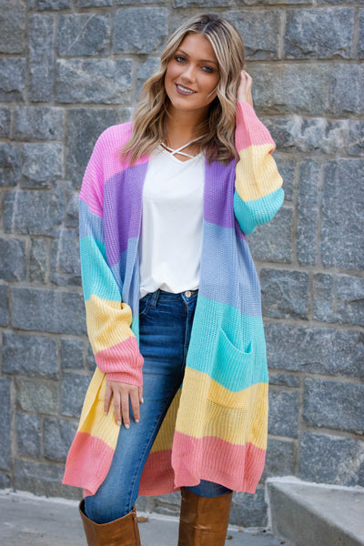 Oversized Rainbow Cardigan- Women's Rainbow Knit Cardigan- $45- Fun Knit Cardigan