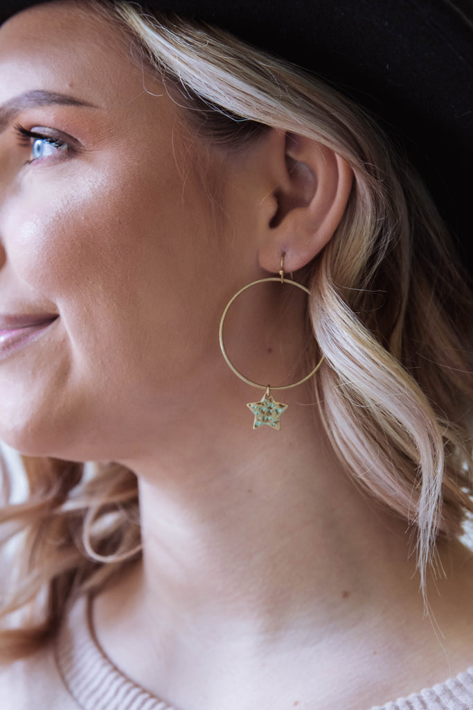 Women's Gold Hoop Star Earrings- Star Shaped Jewelry- $12