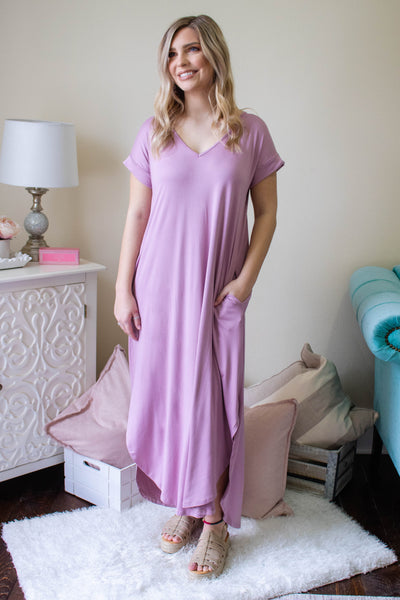 Casual Lavender Maxi Dress- Trendy T-Shirt Maxi Dress- $32- Juliana's Boutique