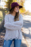 Grey Confetti Distressed Sweater- Rainbow Confetti Sweater- $44