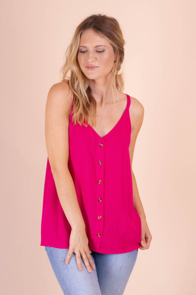 Women's Magenta Dressy Tank Top- Cute Pink Sleeveless Blouse With Buttons- $28- Juliana's Boutique