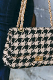 Black And Tan Houndstooth Handbag- Houndstooth Designer Handbag- Look For Less Purses- $36