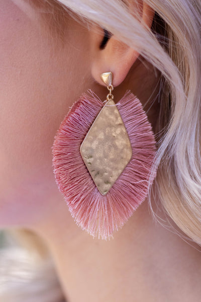 Mauve Pink Fringed Statement Earrings- Women's Boho Jewelry- $14