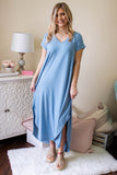 Casual Light Aqua Maxi Dress- Trendy T-Shirt Maxi Dress- $32- Juliana's Boutique