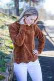 Burnt Orange Chenille Sweater- Chenille Scalloped Sweater- $28- Juliana's Boutique