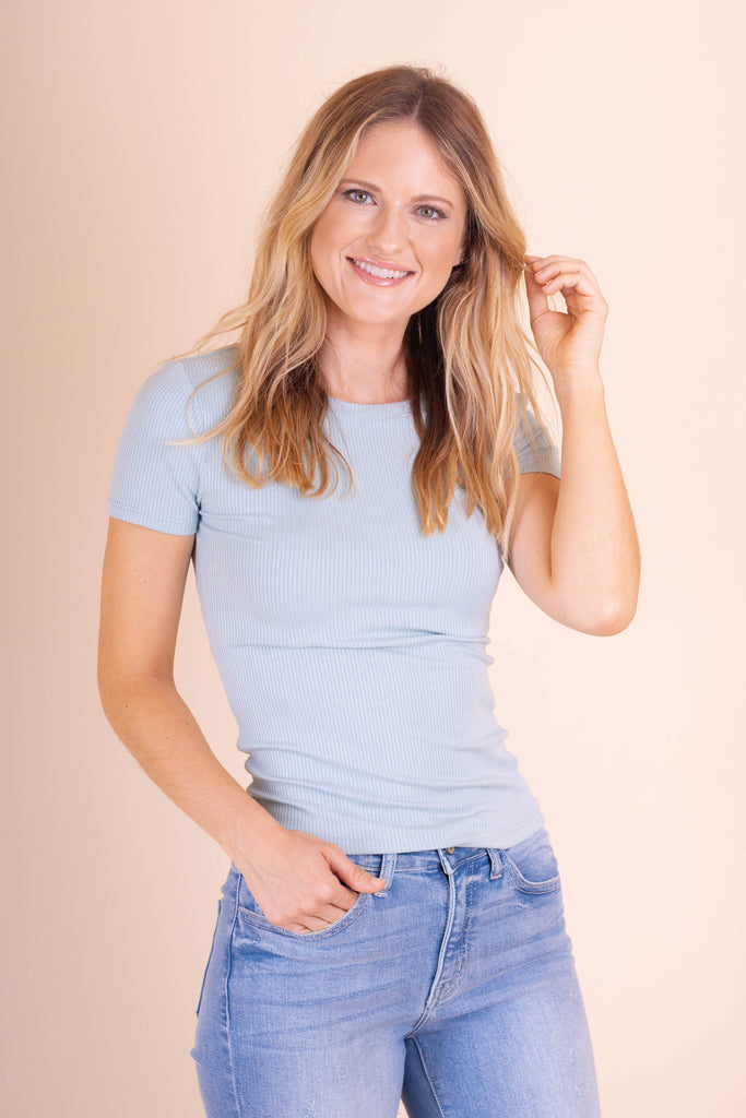 Simple Short Sleeve Blue Top- Ribbed Hugging Top- $26- Juliana's Boutique