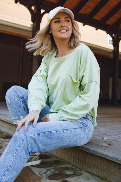 Oversized Cropped Pullover- Women's Lime Green Pullover- $44
