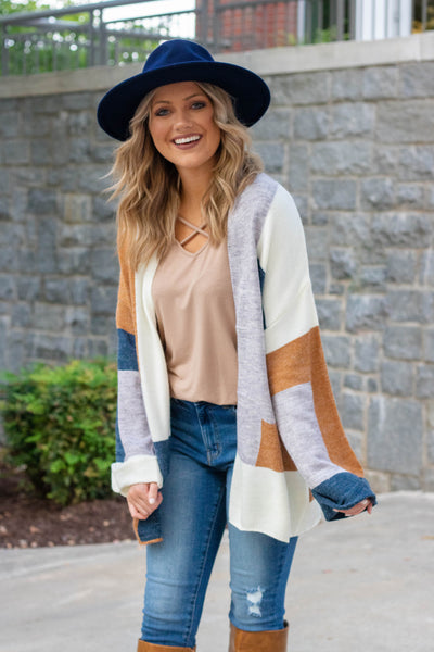 Brown Multi Cardigan- Multi Colored Cardigan- Trendy Blogger Cardigan- $45