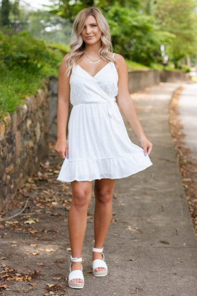 Women's White Wrap Dress- White Swiss Dot Dress- Cute White Dresses- $44