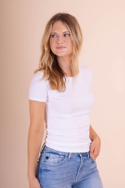 Simple Short Sleeve White Top- Ribbed Hugging Top- $26- Juliana's Boutique