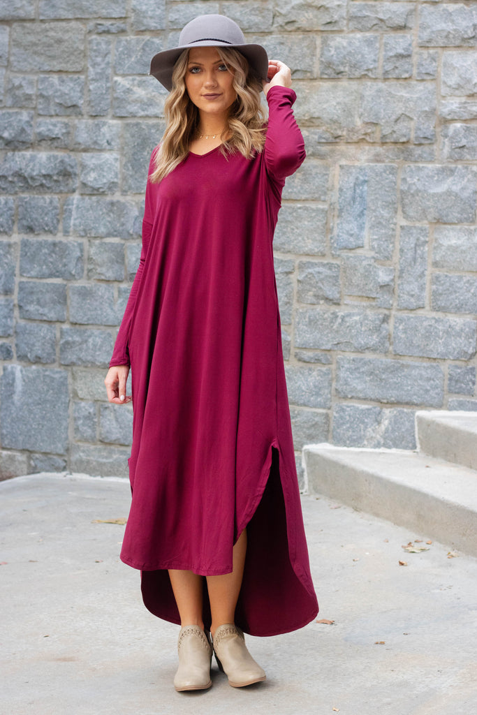 Casual Wine Long Sleeve Maxi Dress- Trendy T-Shirt Maxi Dress- Jersey Knit Maxi- $34
