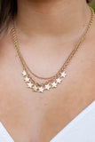 Worn Gold Multi Star Charm Layered Necklace- Trendy Women's Jewelry- $14