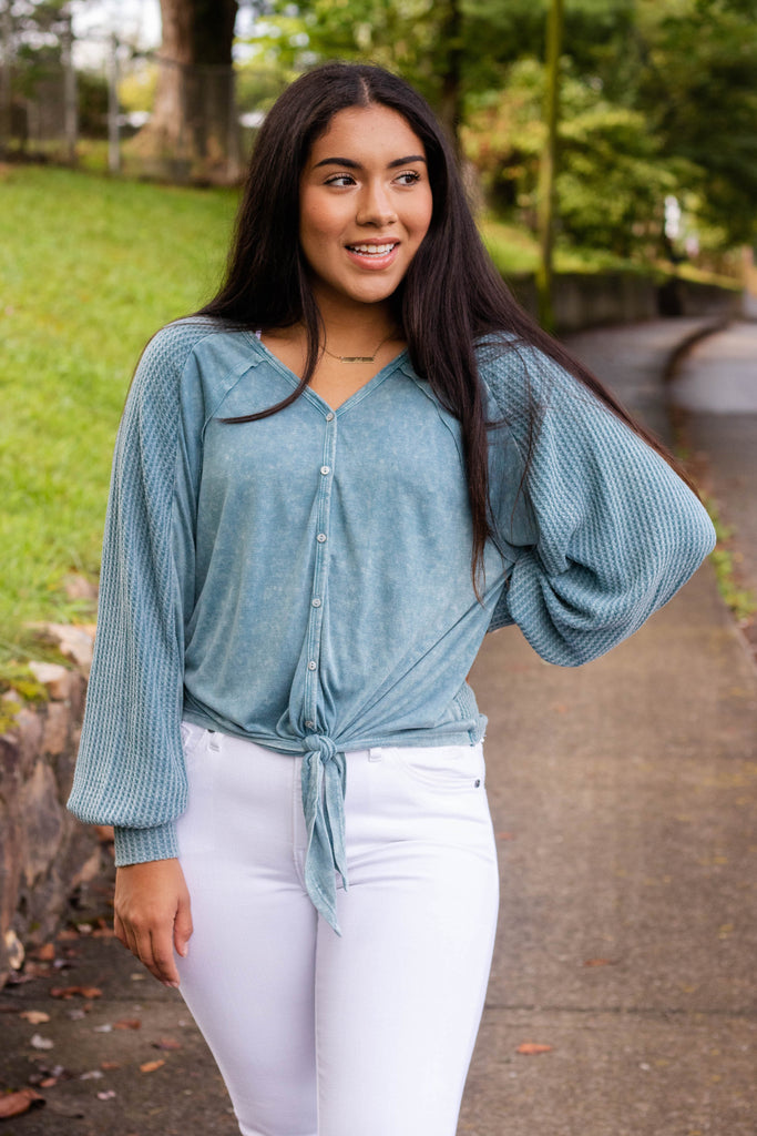 Women's Teal Button Up Top- Women's Button Tie Top- Cute Waffle Knit Top- $38