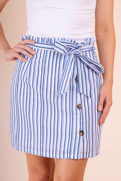 Preppy Women's Skirt- Women's Blue And White Striped Skirt- $36- Juliana's Online Boutique