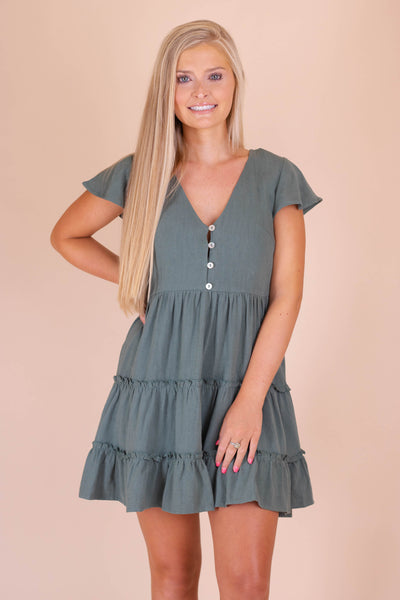 Darling Olive Green Dress- Ruffled Olive Dress- $40- Blogger Style Dresses