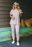 Women's Leopard Waffle Knit Top- Cute Leopard Jogger Set- Women's Leopard Lounge Wear- $35