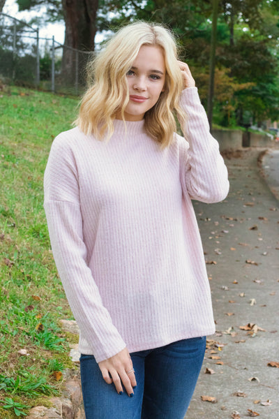 Trendy Blush Pink Sweater- Mock Turtleneck Sweater- Knit Sweater- $26