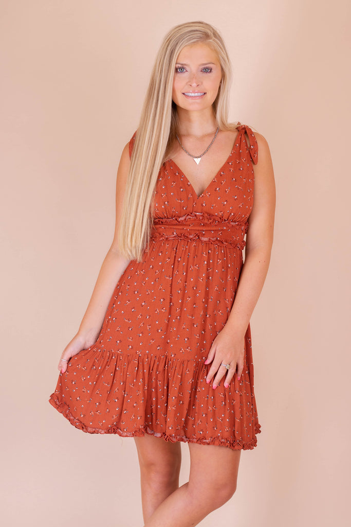 Darling Rust Floral Print Dress- Women's Flirty Fall Dress- $44