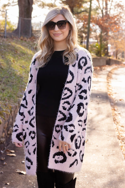 Blush Pink Leopard Cardigan- Women's Super Soft Long Cardigan- Animal Print Cardigan- $45