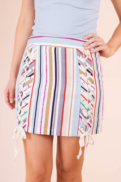 Cute Women's Striped Skirt- Colorful Striped Mini Skirt- $36- Juliana's Online Boutique