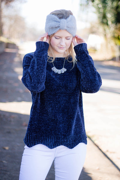 Navy Blue Chenille Sweater- Chenille Scalloped Sweater- $28- Juliana's Boutique