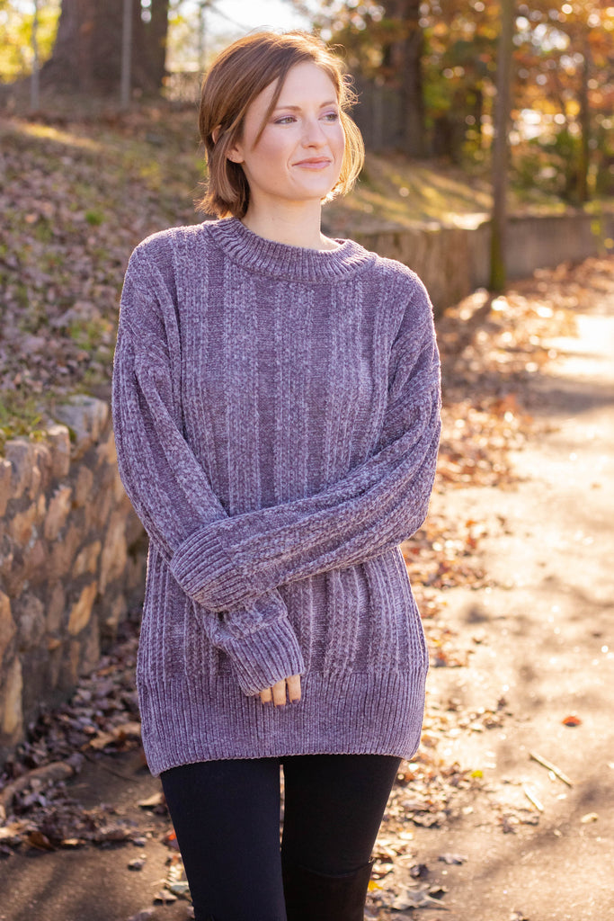 Adorable Blue Multi Stripe Sweater- Trendy Oversized Chenille Sweater- Flowy Knit Sweater- $48