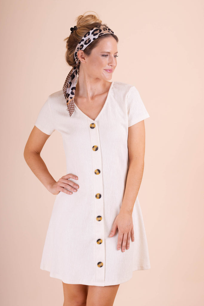 Cute Ivory Women's Dress- Trendy White Dress With Brown Buttons- $44- Women's Online Boutique