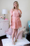 Women's Peach Dress- Women's Short Sleeve Pink Dress- $40