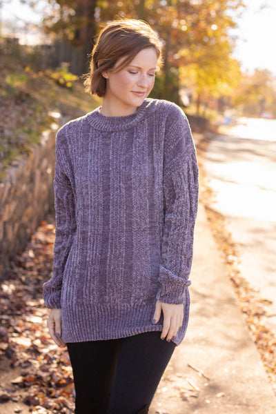 By The Fireside Chenille Sweater-Charcoal