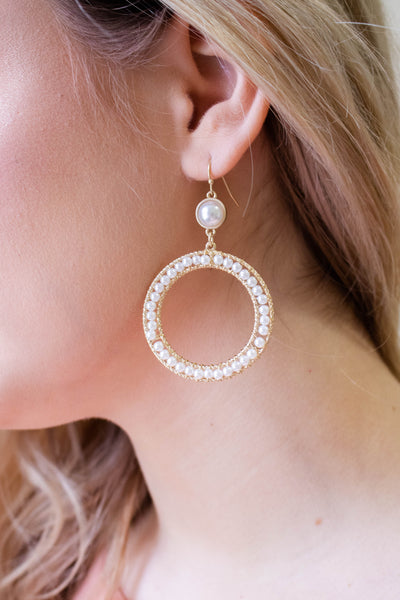 Gold And Pearl Hoop Earrings- Preppy Jewelry- $14