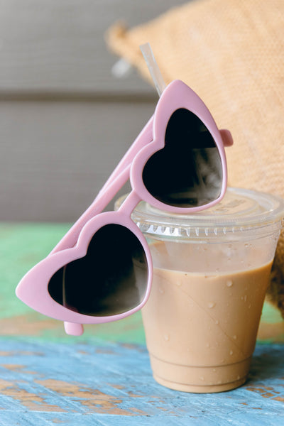 Heart Eyes For You Sunglasses-Pink