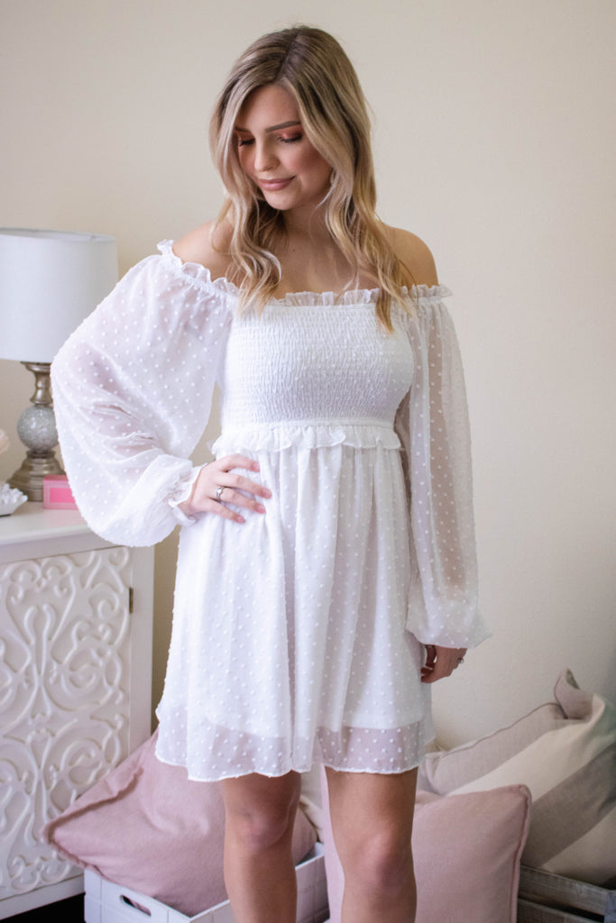 Women's White Off The Shoulder Dress- White Swiss Dot Dress- Smocked Dress- $46