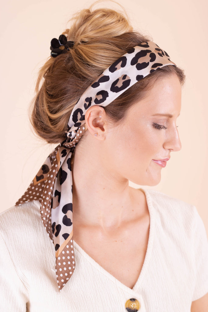 Beige Leopard Print Hair Scarf- Silk Hair Scarf- $12- Affordable Online Women's Boutique