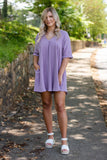 Women's Empire Waist Dress- Cute Women's Purple Dress- Dresses With Pockets- $42