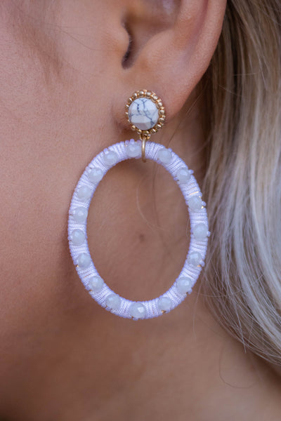 Beaded White Oval Earrings- Women's Beaded Earrings- $18
