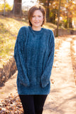 By The Fireside Chenille Sweater-Teal