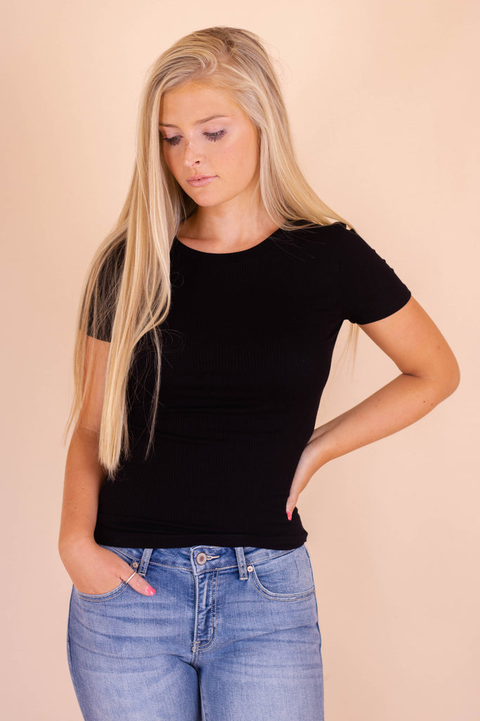 Simple Short Sleeve Black Top- Ribbed Hugging Top- $26- Trendy Online Boutique