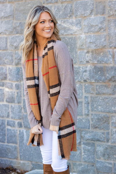 Oblong Plaid Scarf- Designer Dupe Plaid Scarf- Camel Brown Scarf- $24