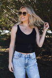 Women's Black Basic Tank- Black Sweater Tank- Stretchy Black Tank Top- $26