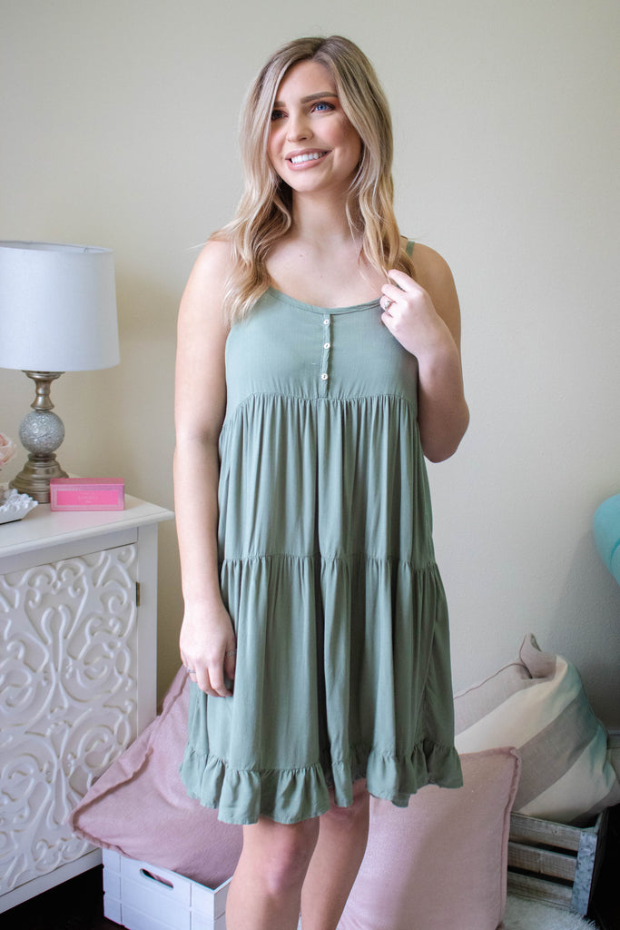 Light Olive Green Dress- Women's Causal Summer Dress- Cute Green Dress- $36