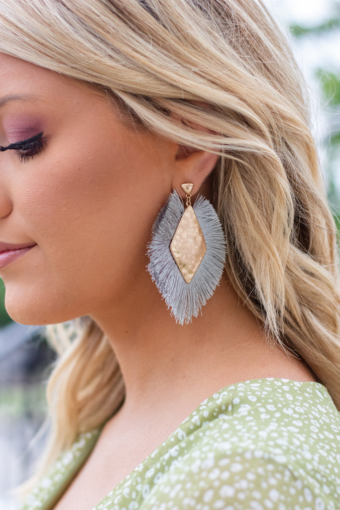 Grey Fringed Statement Earrings- Women's Boho Jewelry- $14