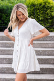 Women's Simple Button Dress- Simple Oatmeal Dress- Cute Tiered Dress- $40