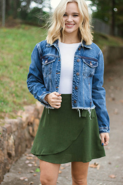 Cropped Denim Jacket- Distressed Denim Jacket- $40- Juliana's Boutique