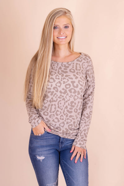 Tan Leopard Dolman Top- Long Sleeve Women's Leopard Blouse- $28