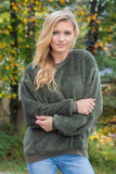 Women's Olive Green Fleece Pullover- Olive Green Fleece Crewneck Pullover- $35